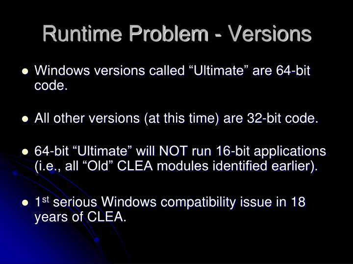 Runtime Problem - Versions