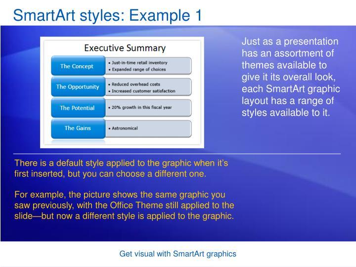 SmartArt styles: Example 1