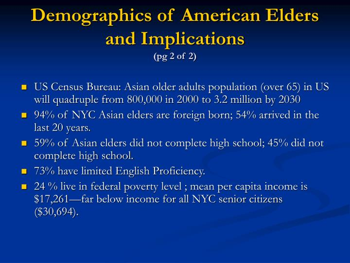 Demographics of American Elders and Implications