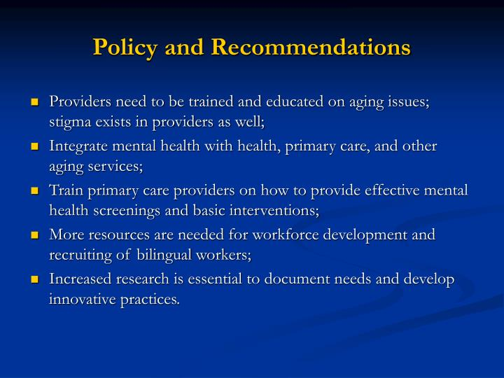 Policy and Recommendations