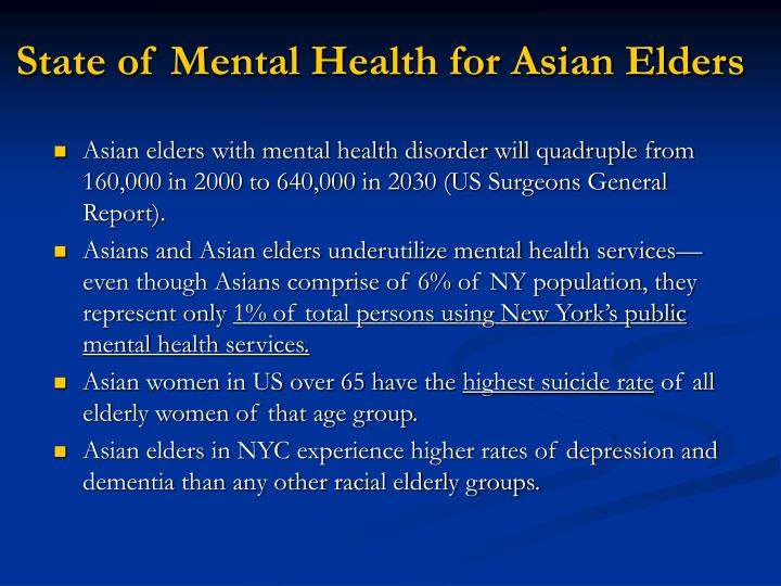 State of Mental Health for Asian Elders