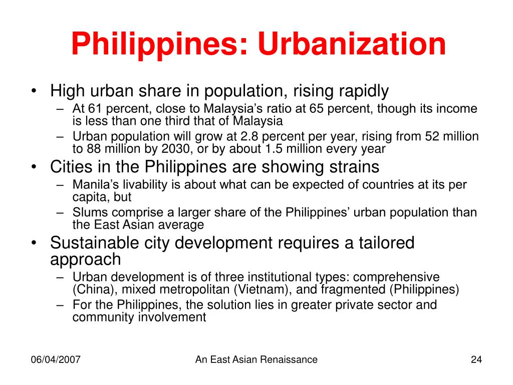Philippines: Urbanization