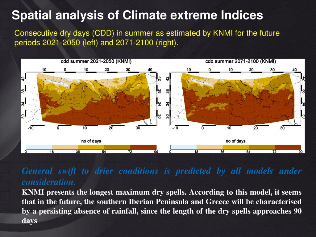 Spatial analysis of Climate extreme Indices