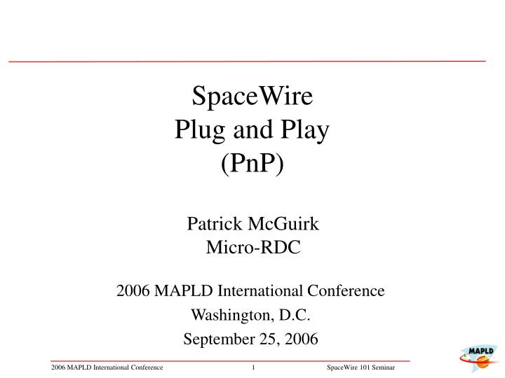 Spacewire plug and play pnp