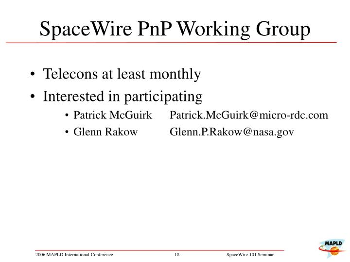 SpaceWire PnP Working Group