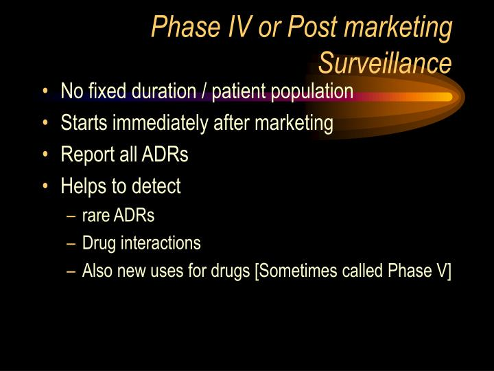 Phase IV or Post marketing Surveillance