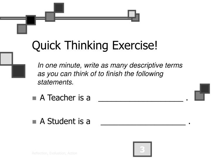 Quick thinking exercise