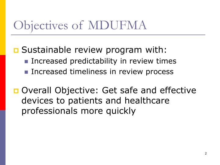 Objectives of MDUFMA
