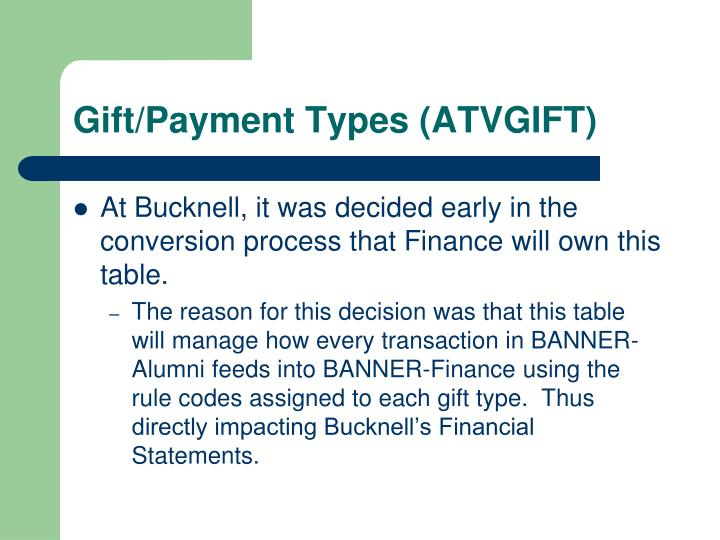 Gift/Payment Types (ATVGIFT)