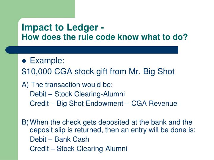 Impact to Ledger -