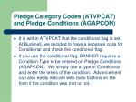 pledge category codes atvpcat and pledge conditions agapcon