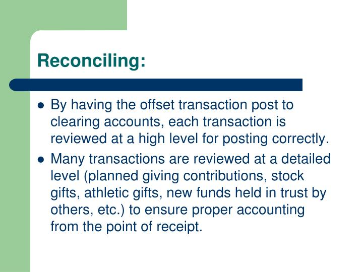Reconciling: