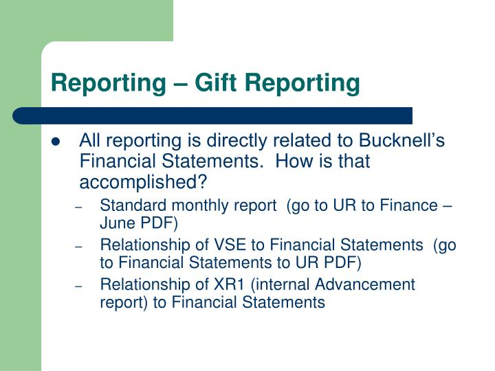 Reporting – Gift Reporting