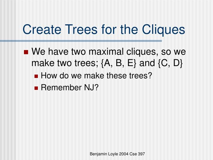 Create Trees for the Cliques