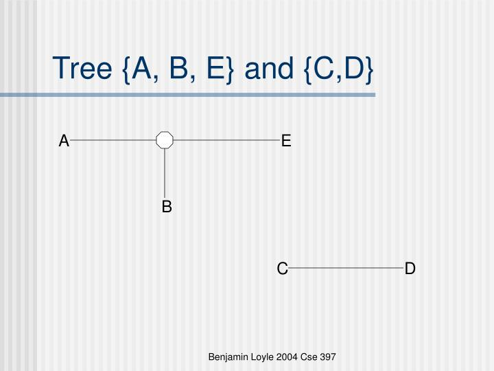Tree {A, B, E} and {C,D}