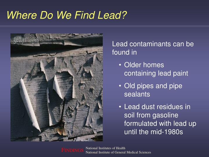 Lead contaminants can be found in
