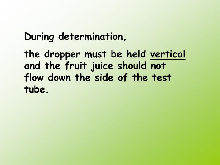 determination of the concentration of vitamin c by using the dcpip test Determination of vitamin c in fresh fruits and vegetables using the dye-titration and microfluorometric methods  were compared using t-test.