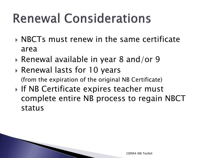 Renewal Considerations