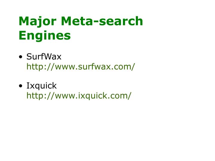 Major Meta-search Engines