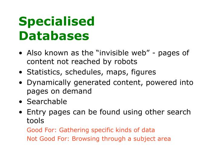 Specialised Databases