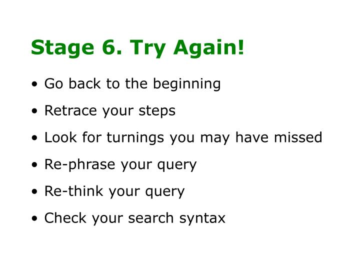 Stage 6. Try Again!