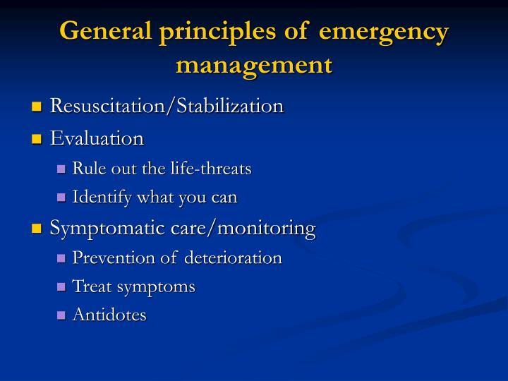 General principles of emergency management