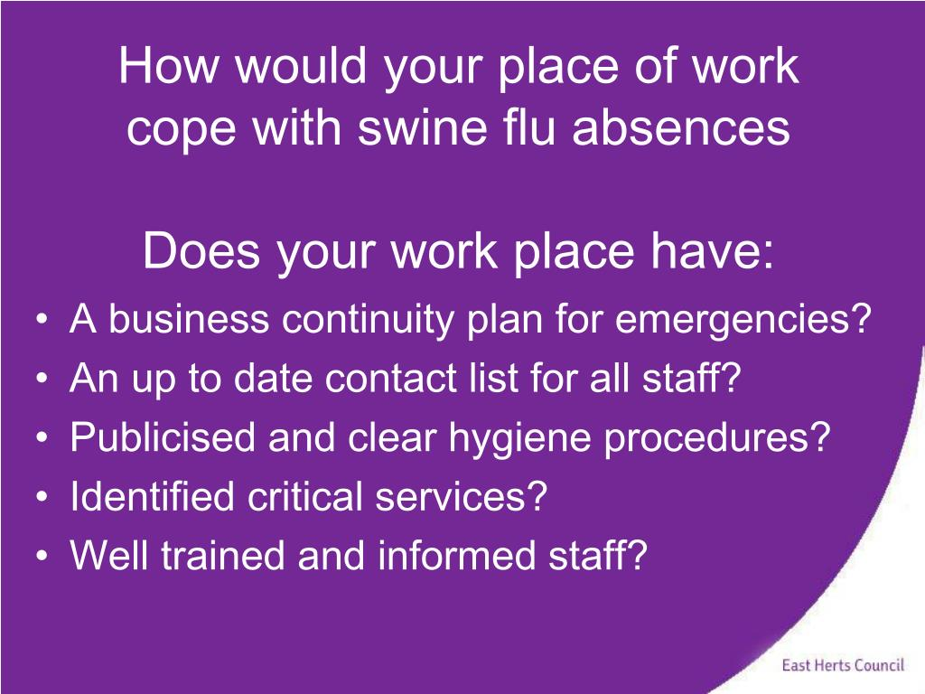 How would your place of work cope with swine flu absences