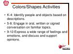 colors shapes activities