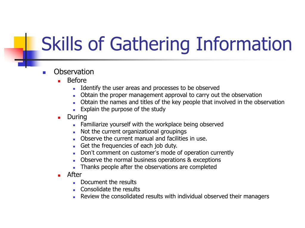 Skills of Gathering Information