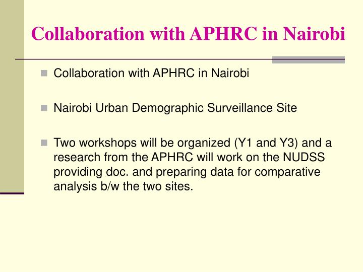 Collaboration with APHRC in Nairobi