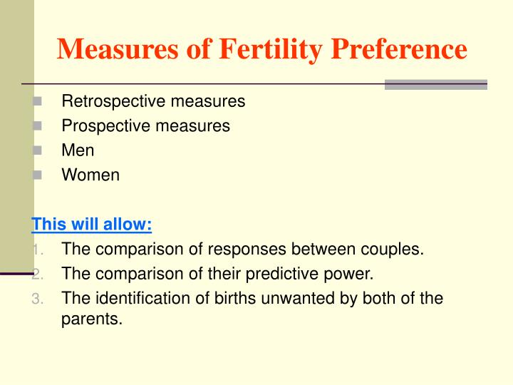 Measures of Fertility Preference