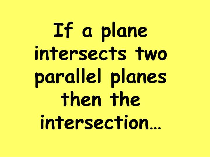 If a plane intersects two parallel planes then the intersection…