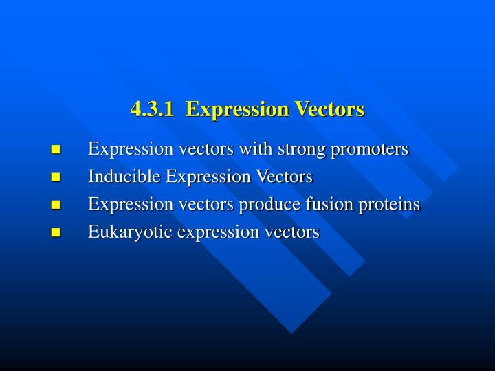 eukaryotic vectors for expression of proteins To further optimize the utility of the transient expression system, we  as well as  for comparing different proteins or vectors for yield or expression kinetics  of  full-size monoclonal antibodies in plants by a single-vector dna.