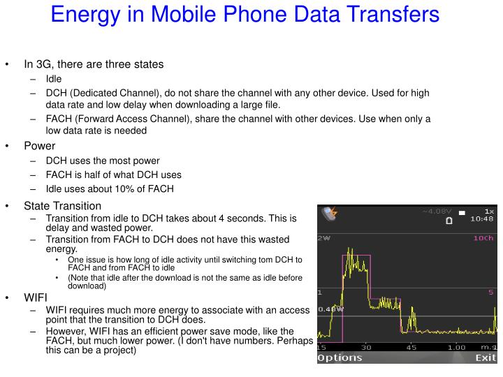 Energy in mobile phone data transfers