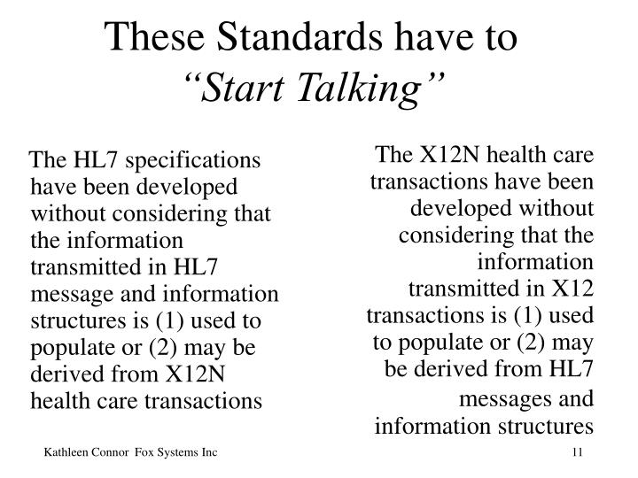The HL7 specifications have been developed without considering that the information transmitted in HL7 message and information structures is (1) used to populate or (2) may be derived from X12N health care transactions
