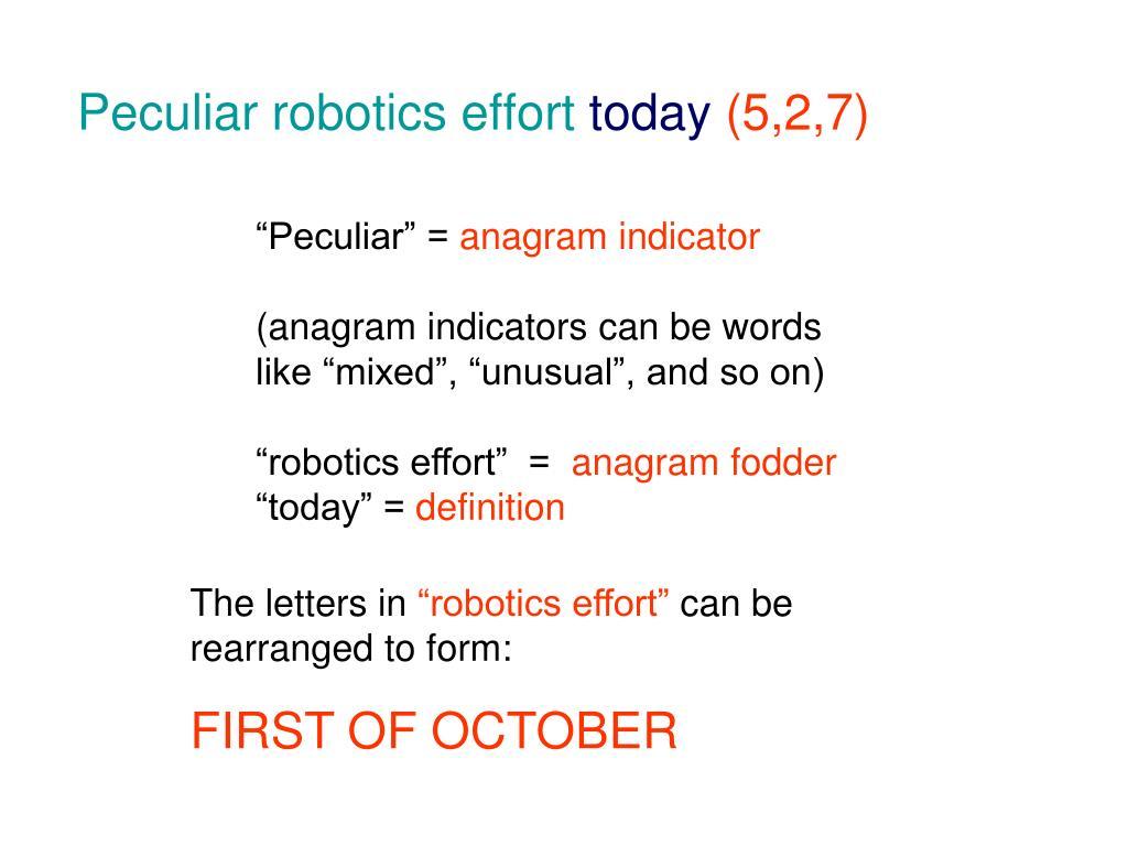 Peculiar robotics effort