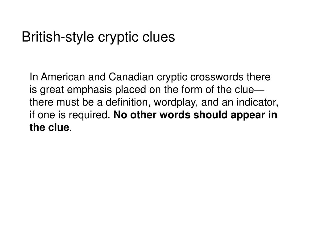 British-style cryptic clues