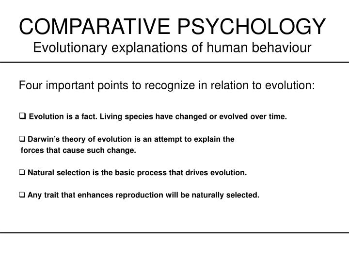 Comparative psychology evolutionary explanations of human behaviour