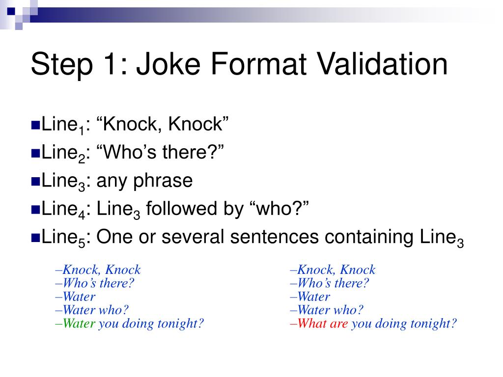 Step 1: Joke Format Validation