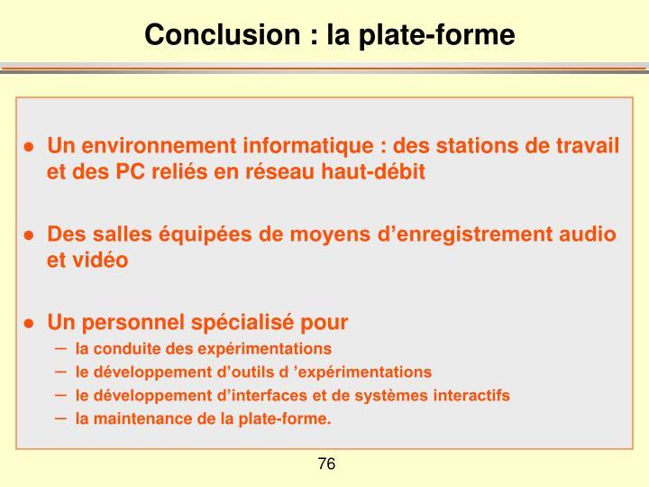 Conclusion : la plate-forme