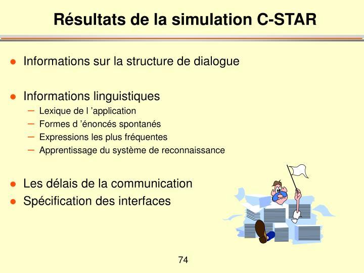 Résultats de la simulation C-STAR