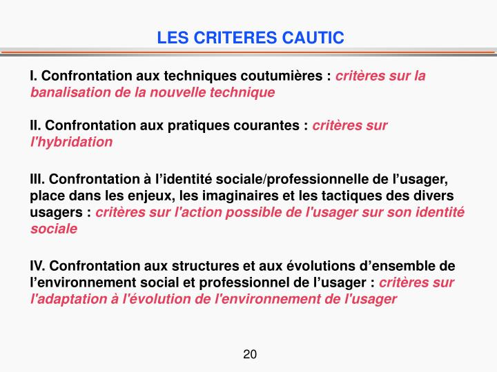 LES CRITERES CAUTIC