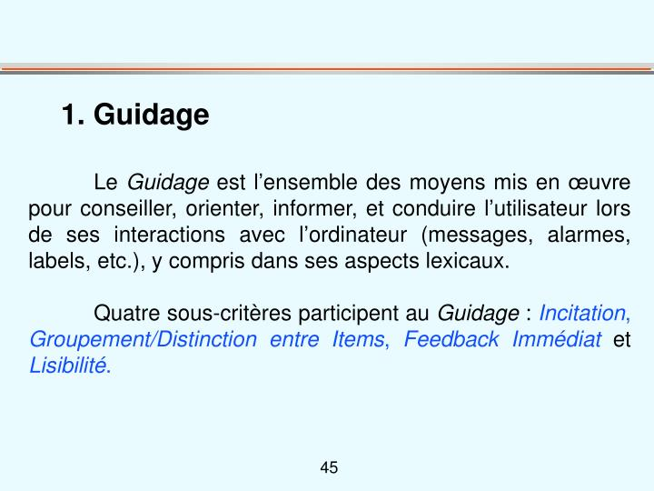 1. Guidage