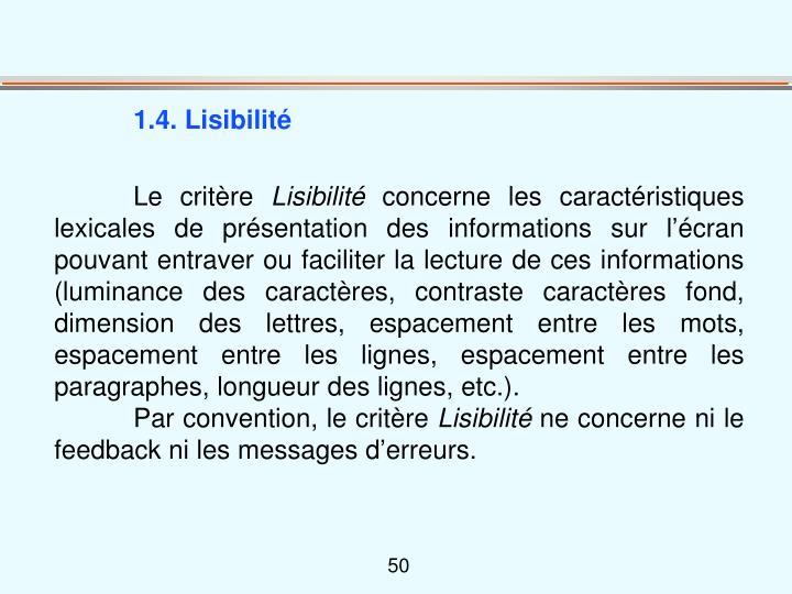 1.4. Lisibilité
