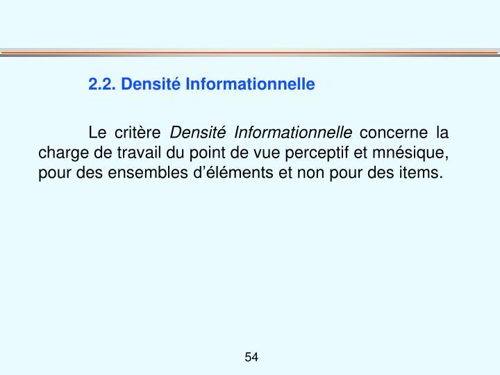 2.2. Densité Informationnelle