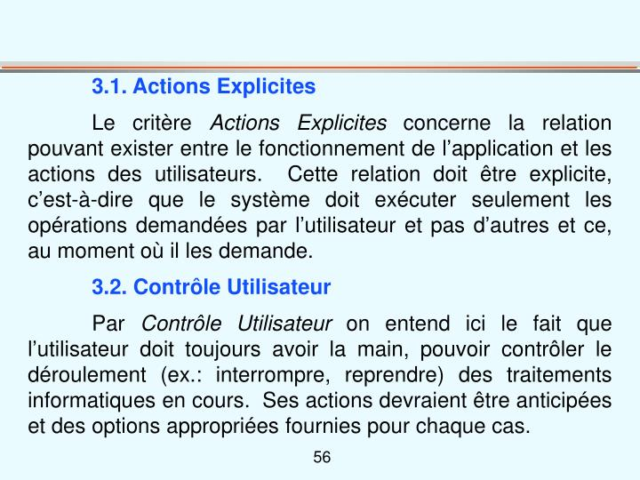 3.1. Actions Explicites