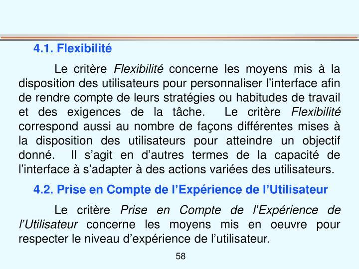 4.1. Flexibilité