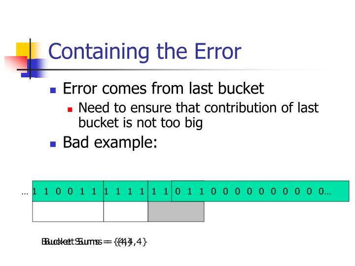 Containing the Error