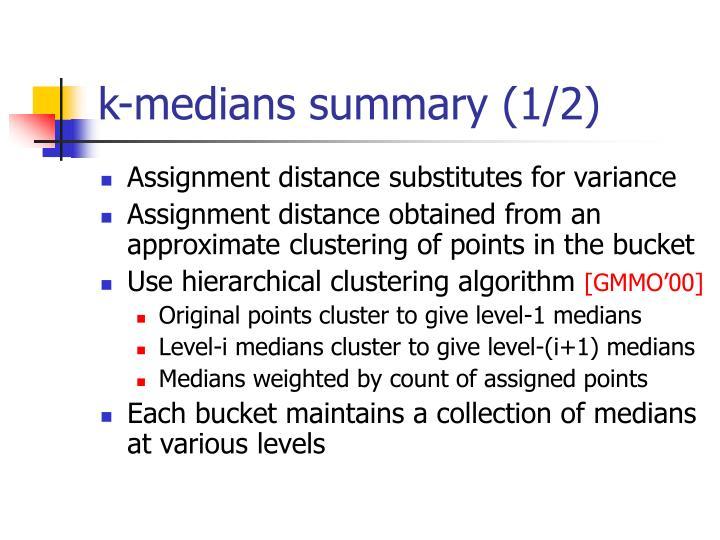 k-medians summary (1/2)