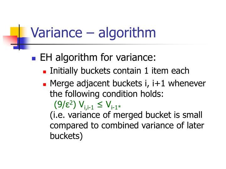Variance – algorithm